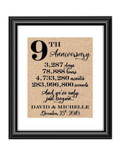 This is a great anniversary gift for that special couple celebrating 9 years of marriage. Print comes personalized with couples first names and wedding date.  9th Anniversary And we've Only Just Begun Personalized Burlap or Cotton Print
