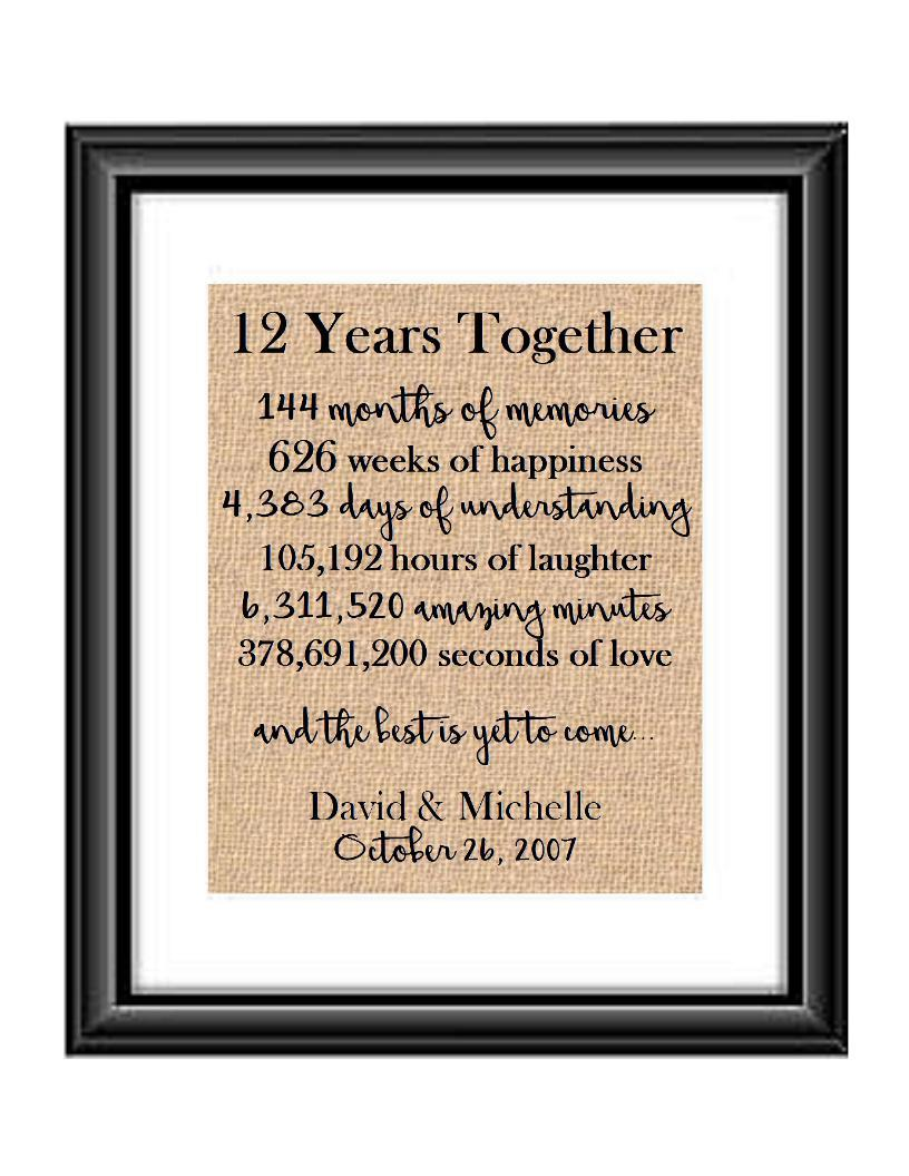 This is the perfect 12 year anniversary gift for that special lady or gentleman in your life. This particular print also makes a great wedding gift for that special couple.  12 Years Together And The Best is Yet to Come Anniversary Burlap or Cotton Personalized Print