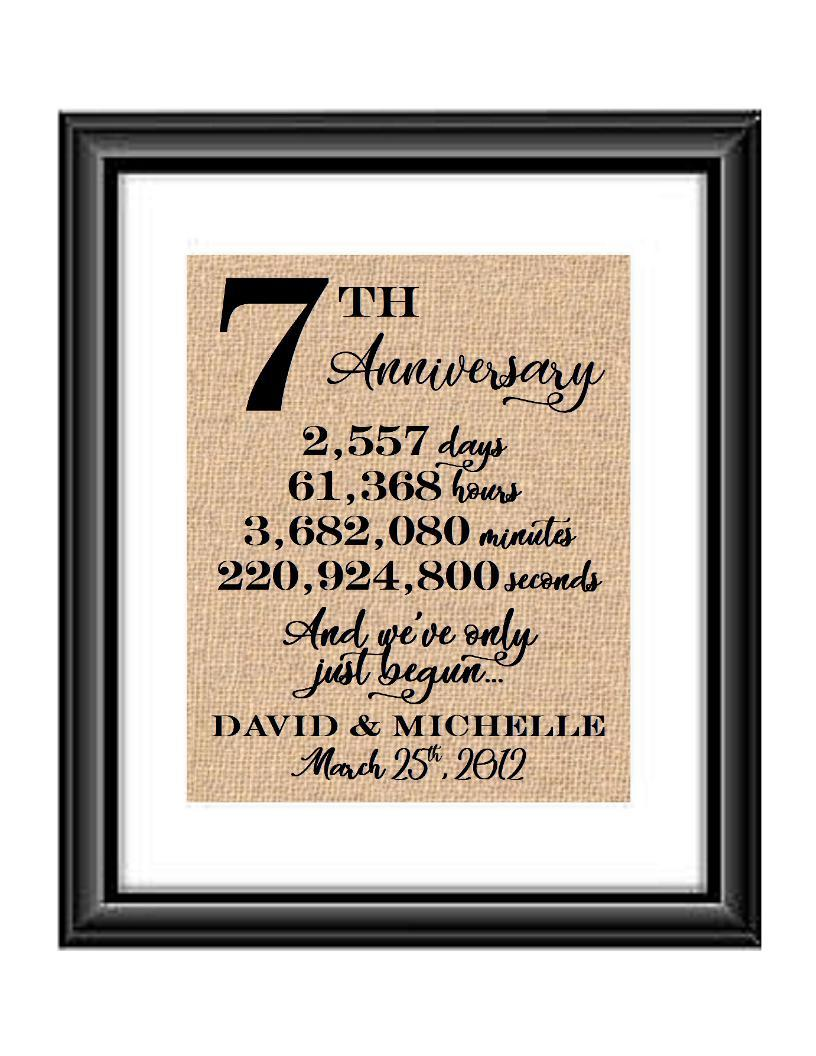 This is a great anniversary gift for that special couple celebrating 7 years of marriage. Print comes personalized with couples first names and wedding date.  7th Anniversary And we've Only Just Begun Personalized Burlap or Cotton Print