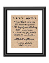 This is the perfect 4 year anniversary gift for that special lady or gentleman in your life. This particular print also makes a great wedding gift for that special couple.  4 Year Together Anniversary Burlap or Cotton Personalized Print