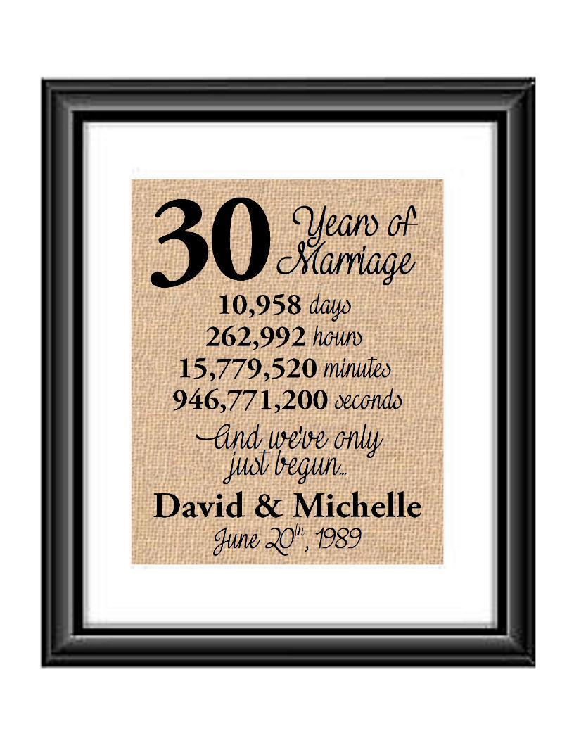 This is the perfect 30 year anniversary gift for that special lady or gentleman in your life. This particular print also makes a great wedding gift for that special couple.  30 Years of Marriage And We've Only Just Begun Anniversary Burlap or Cotton Personalized Print