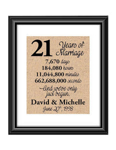 This is the perfect 21 year anniversary gift for that special lady or gentleman in your life. This particular print also makes a great wedding gift for that special couple.  21 Years of Marriage And We've Only Just Begun Anniversary Burlap or Cotton Personalized Print