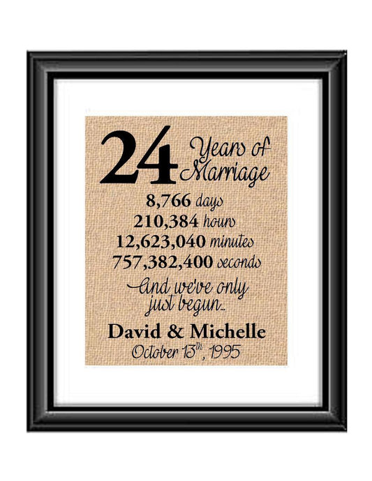 This is the perfect 24 year anniversary gift for that special lady or gentleman in your life. This particular print also makes a great wedding gift for that special couple.  24 Years of Marriage And We've Only Just Begun Anniversary Burlap or Cotton Personalized Print