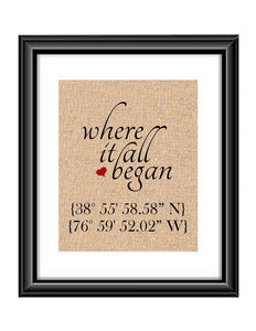 Where it all Began is the perfect print to showcase that special place where it all started. These coordinates can be where the special couple first met, first date, where they got married, or it could be a special place that you have visited, it can be anything.  Where it all Began GPS Coordinates Longitude Latitude Personalized Burlap or Cotton Print