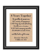This is the perfect 8 year anniversary gift for that special lady or gentleman in your life. This particular print also makes a great wedding gift for that special couple.  8 Year Together Anniversary Burlap or Cotton Personalized Print