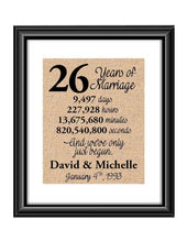 This is the perfect 26 year anniversary gift for that special lady or gentleman in your life. This particular print also makes a great wedding gift for that special couple.  26 Years of Marriage And We've Only Just Begun Anniversary Burlap or Cotton Personalized Print