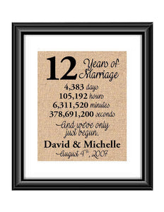 This is the perfect 12 year anniversary gift for that special lady or gentleman in your life. This particular print also makes a great wedding gift for that special couple.  12 Years of Marriage And We've Only Just Begun Anniversary Burlap or Cotton Personalized Print