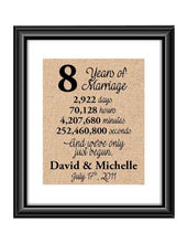 This is the perfect 8 year anniversary gift for that special lady or gentleman in your life. This particular print also makes a great wedding gift for that special couple.  8 Years of Marriage And We've Only Just Begun Anniversary Burlap or Cotton Personalized Print