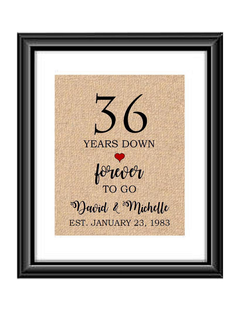 36 Years down forever to go is a personalized anniversary print to show that special loved one just how much you appreciate them. This makes for the perfect gift for your husband, wife, partents or any other couple celebrating 36 years!  36 Years Down Forever to Go Personalized Anniversary Burlap or Cotton Print