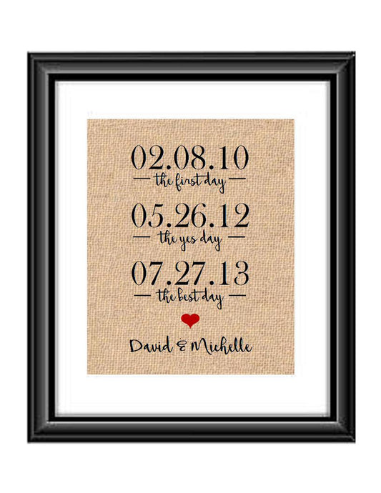 The First Day, The Yes Day, The Best Day Burlap or Cotton Personalized Print