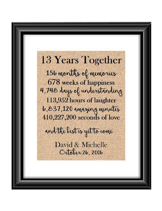 This is the perfect 13 year anniversary gift for that special lady or gentleman in your life. This particular print also makes a great wedding gift for that special couple.  13 Years Together And The Best is Yet to Come Anniversary Burlap or Cotton Personalized Print