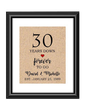 30 Years down forever to go is a personalized anniversary print to show that special loved one just how much you appreciate them. This makes for the perfect gift for your husband, wife, partents or any other couple celebrating 30 years!  30 Years Down Forever to Go Personalized Anniversary Burlap or Cotton Print