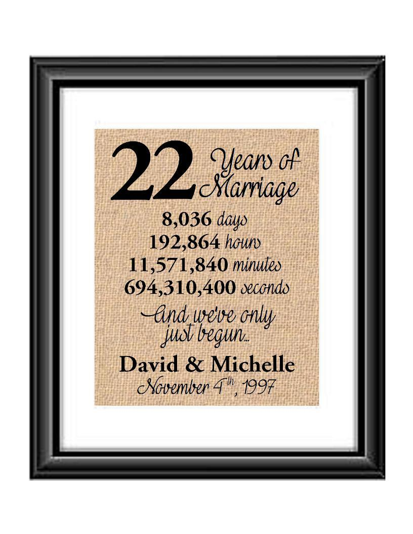 This is the perfect 22 year anniversary gift for that special lady or gentleman in your life. This particular print also makes a great wedding gift for that special couple.  22 Years of Marriage And We've Only Just Begun Anniversary Burlap or Cotton Personalized Print