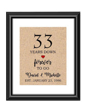 33 Years down forever to go is a personalized anniversary print to show that special loved one just how much you appreciate them. This makes for the perfect gift for your husband, wife, partents or any other couple celebrating 33 years!  33  Years Down Forever to Go Personalized Anniversary Burlap or Cotton Print