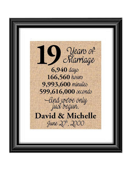 This is the perfect 19 year anniversary gift for that special lady or gentleman in your life. This particular print also makes a great wedding gift for that special couple.  19 Years of Marriage And We've Only Just Begun Anniversary Burlap or Cotton Personalized Print