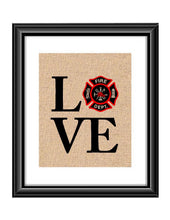 Show that special Firefighter Family or Individual some love with this unique Love Firefighter Maltese Burlap or Cotton Print