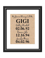 This handmade burlap print is the perfect gift for Gigi, Mimi, Mom, Dad, Nana, Grandma - whatever you call that special person in your life! Ideal for many occasions like Christmas, Mother's Day, Father's Day, birthdays, any holidays, and more.  My Greatest Blessings Call Me GIGI Burlap or Cotton Personalized Print