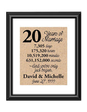 This is the perfect 20 year anniversary gift for that special lady or gentleman in your life. This particular print also makes a great wedding gift for that special couple.  20 Years of Marriage And We've Only Just Begun Anniversary Burlap or Cotton Personalized Print