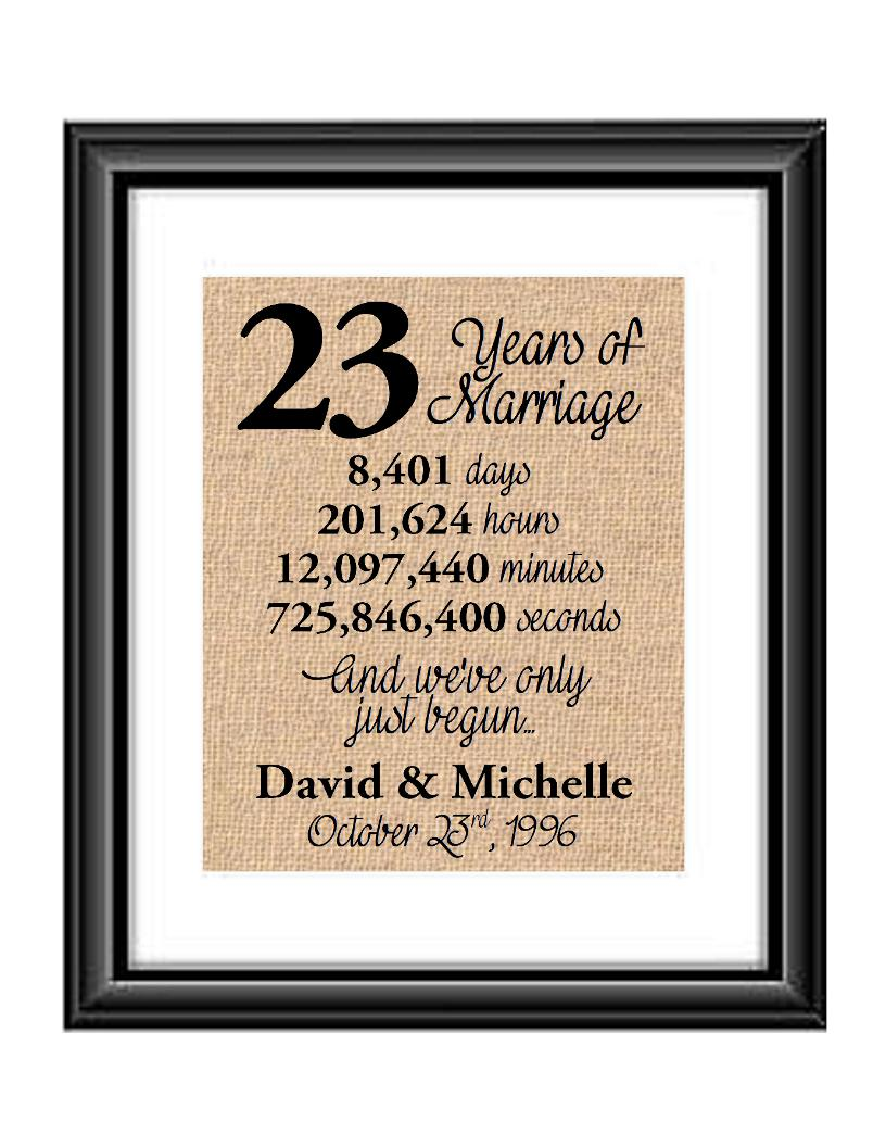 23 Years of Marriage And We've Only Just Begun Anniversary Burlap or Cotton Personalized Print
