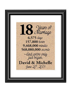 This is the perfect 18 year anniversary gift for that special lady or gentleman in your life. This particular print also makes a great wedding gift for that special couple.  18 Years of Marriage And We've Only Just Begun Anniversary Burlap or Cotton Personalized Print