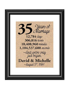 This is the perfect 35 year anniversary gift for that special lady or gentleman in your life. This particular print also makes a great wedding gift for that special couple.  35 Years of Marriage And We've Only Just Begun Anniversary Burlap or Cotton Personalized Print