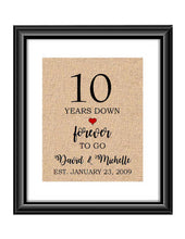 10 Years down forever to go is a personalized anniversary print to show that special loved one just how much you appreciate them. This makes for the perfect gift for your husband, wife, partents or any other couple celebrating 10 years!  10 Years Down Forever to Go Personalized Anniversary Burlap or Cotton Print