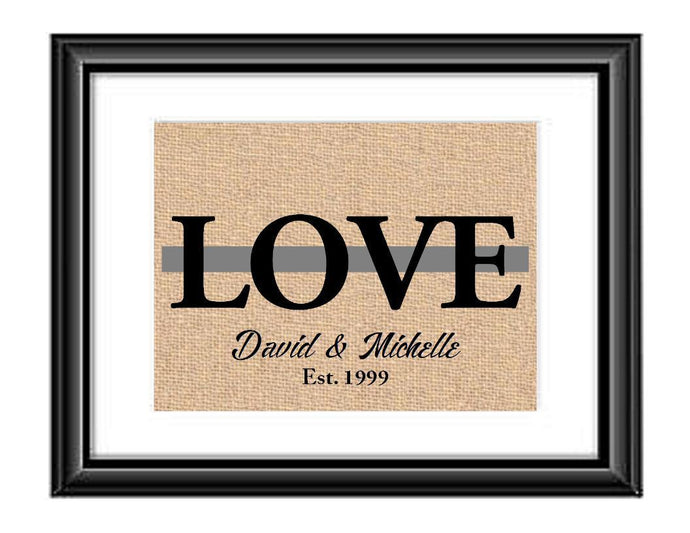Showcase your love with this Personalized Correction Officer Thin Silver Gray Line Love Print. This particular print has the word LOVE in large capital letters with a green line through the middle and underneath it is personalized with the couples first names and established date.  Correction Officer Love Thin Silver Gray Line Personalized Burlap or Cotton Print