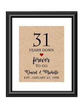 31 Years down forever to go is a personalized anniversary print to show that special loved one just how much you appreciate them. This makes for the perfect gift for your husband, wife, partents or any other couple celebrating 31 years!  31 Years Down Forever to Go Personalized Anniversary Burlap or Cotton Print