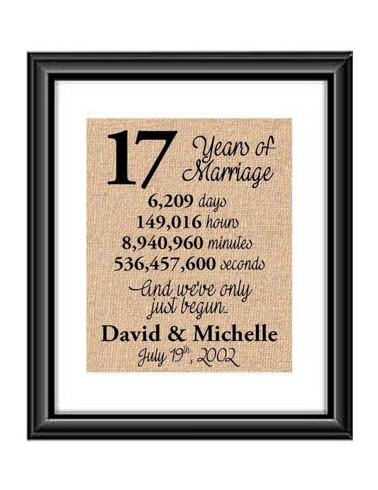 This is the perfect 17 year anniversary gift for that special lady or gentleman in your life. This particular print also makes a great wedding gift for that special couple.  17 Years of Marriage And We've Only Just Begun Anniversary Burlap or Cotton Personalized Print