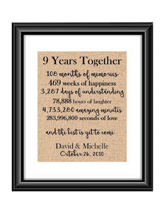 This is the perfect 9 year anniversary gift for that special lady or gentleman in your life. This particular print also makes a great wedding gift for that special couple.  9 Year Together Anniversary Burlap or Cotton Personalized Print