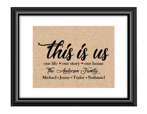 This is the Perfect Gift for your special family or makes a great gift for someone elses. Print is personalized with family last name and family members first names. This is one of those unique pieces that any family will be proud to display in you home.  This is us Our Life Our Story Our Home Personalized Family Burlap or Cotton Print