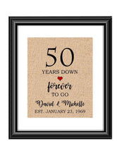 50 Years down forever to go is a personalized anniversary print to show that special loved one just how much you appreciate them. This makes for the perfect gift for your husband, wife, partents or any other couple celebrating 50 years!  50 Years Down Forever to Go Personalized Anniversary Burlap or Cotton Print