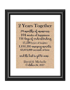 This is the perfect 2 year anniversary gift for that special lady or gentleman in your life. This particular print also makes a great wedding gift for that special couple.  2 Year Together Anniversary Burlap or Cotton Personalized Print