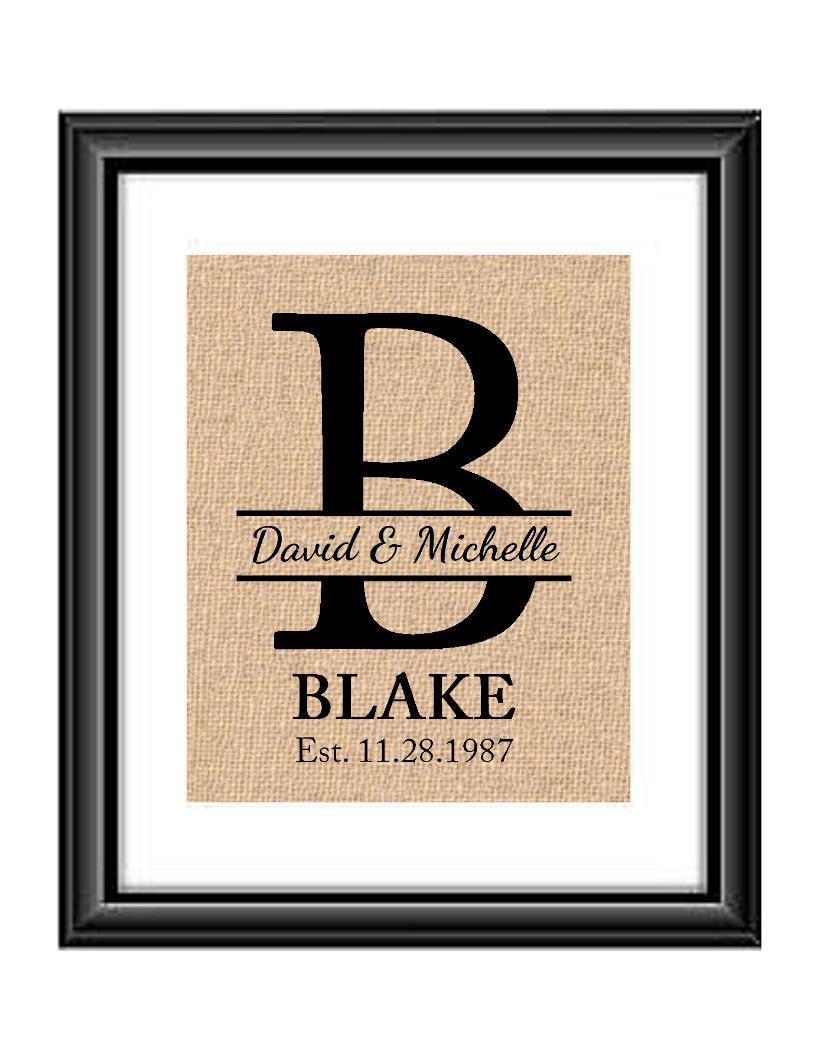 This personalized handmade burlap or cotton print is a great gift for any wedding couple! Print includes the couple's first names, last name, large letter monogram, and wedding/anniversary date!  Family Last Name Monogrammed Personalized Burlap or Cotton Print