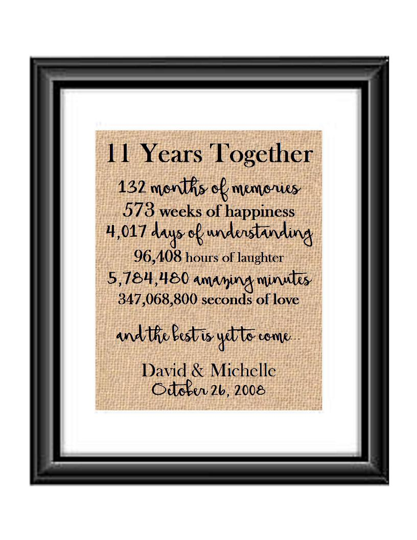 This is the perfect 11 year anniversary gift for that special lady or gentleman in your life. This particular print also makes a great wedding gift for that special couple.  11 Years Together And The Best is Yet to Come Anniversary Burlap or Cotton Personalized Print