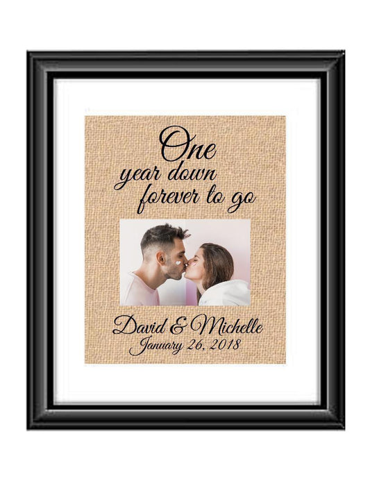 1 Year down forever to go is a personalized anniversary print that allow that special couple to include a picture to celebrate their 1st anniversary. This makes for the perfect gift for your husband, wife, partents or any other couple celebrating 1 year together!
