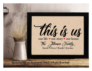 This is Us Personalized Burlap or Cotton Print