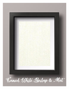 Framed White Burlap Print with Mat