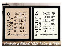 What A Difference A Day Makes Personalized Family Name and Dates Burlap or Cotton Print