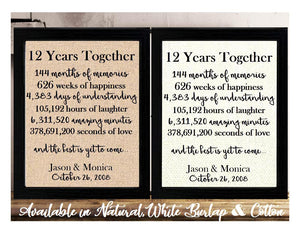 12 Years Together And The Best is Yet to Come Anniversary Burlap or Cotton Personalized Print
