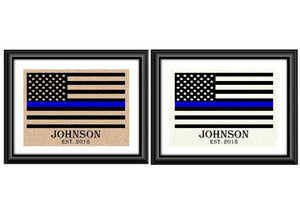 Thin Blue Line American Flag Personalized Burlap or Cotton Police Print