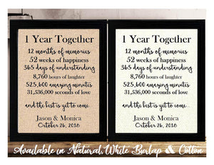 This is the perfect 1 year anniversary gift for that special lady or gentleman in your life. This particular print also makes a great wedding gift for that special couple.  1 Year Together Anniversary Burlap or Cotton Personalized Print
