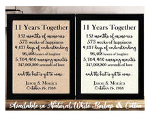 11 Years Together And The Best is Yet to Come Anniversary Burlap or Cotton Personalized Print