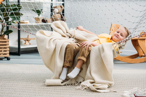 Boy in Indoors Hammock