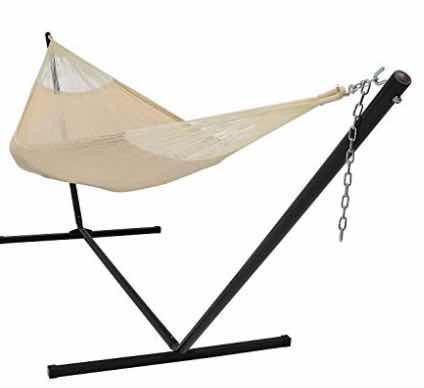 SunnyDaze Hand-Woven 2 Person Mayan Hammock with Stand