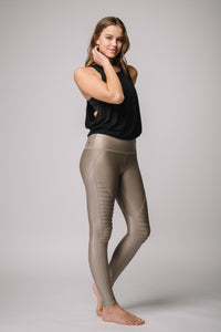Mia Shiny High Waist Pin tuck legging - Sand