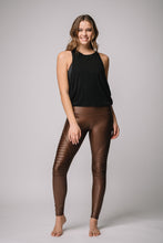 Mia Shiny High Waist Pin tuck legging -Bronze