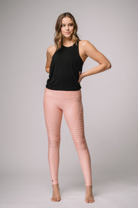 Mia Shiny High Waist Pin tuck legging - Pink Diamond