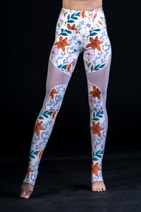 Alba Mesh legging White- Flowers - Beat Outdoor Gear