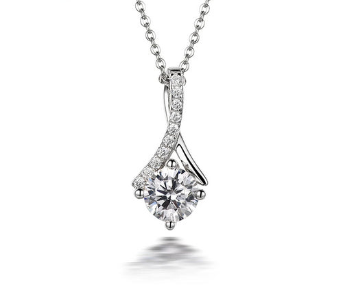 Solitaire Diamond Sterling Silver Necklace-zaddy-zems